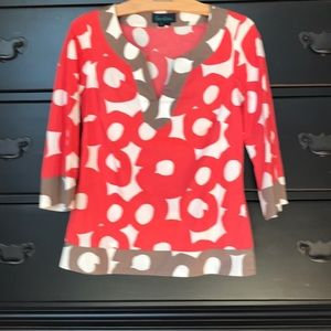 Bodensee. Cotton. Size 8 top. Red, brown, white.